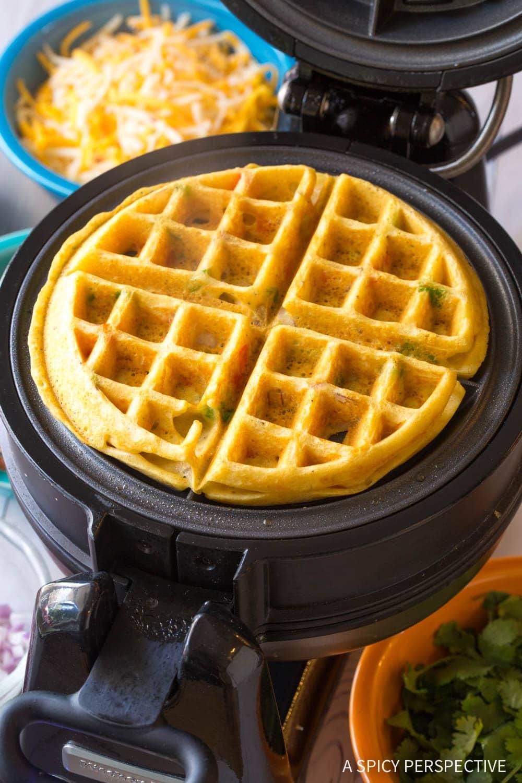 Savory Waffle Iron Quesadillas Recipe #ASpicyPerspective #onepot