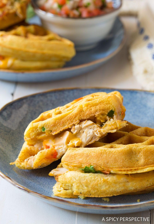 Crispy Waffle Iron Quesadillas Recipe #ASpicyPerspective #onepot
