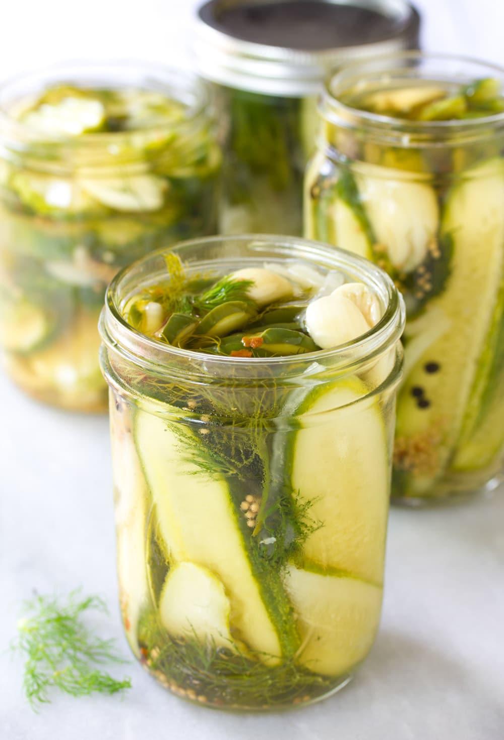 Jarred Pickled Cucumbers #ASpicyPerspective #Pickles #RefrigeratorPickles #HomemadePickles #PickleRecipe #HowtoMakePickles