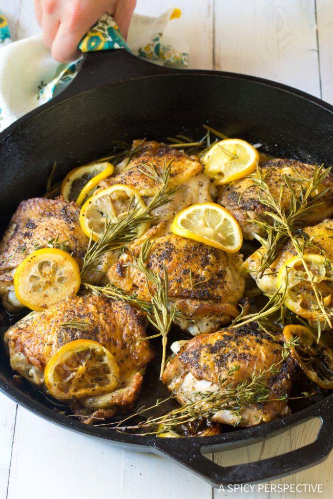 Herb Roasted Chicken Thighs Recipe #ASpicyPerspective #ChickenThighs #BakedChickenThighs #HowLongtoBakeChickenThighs #BakedChickenThighsRecipe #Chicken #ChickenThighs #Keto #Paleo #GlutenFree