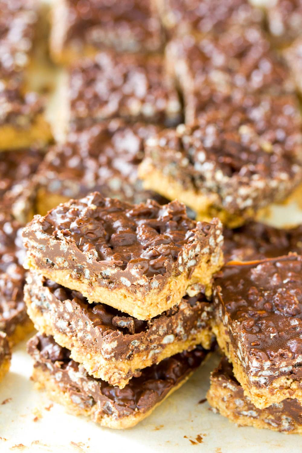 Crispy No-Bake Chocolate Peanut Butter Bars - A Spicy