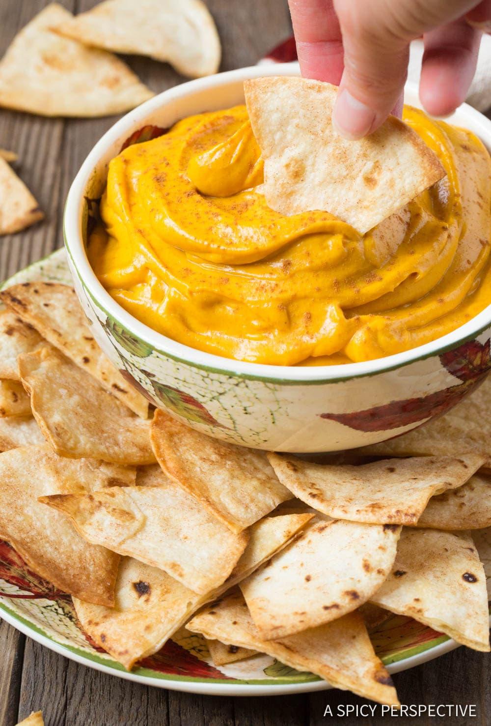 Fluffy Pumpkin Pie Dip + Cinnamon Chips Recipe #ASpicyPerspective #Halloween #Thanksgiving
