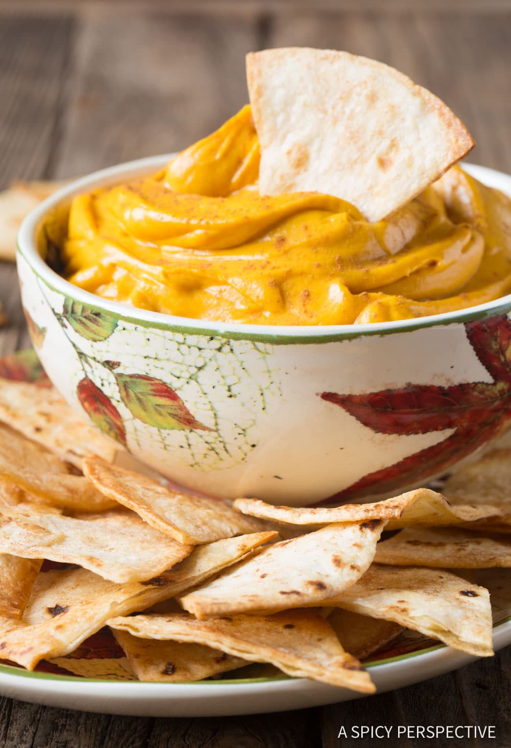 Creamy Pumpkin Pie Dip + Cinnamon Chips Recipe #ASpicyPerspective #Halloween #Thanksgiving