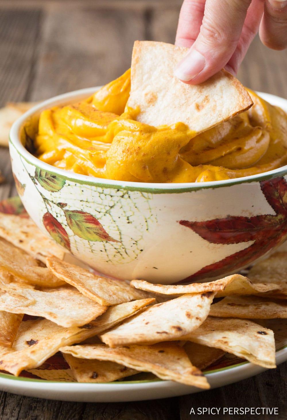 4-Ingredient Pumpkin Pie Dip + Cinnamon Chips Recipe #ASpicyPerspective #Halloween #Thanksgiving