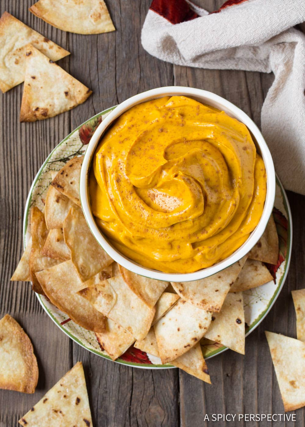 Easy Pumpkin Pie Dip + Cinnamon Chips Recipe #ASpicyPerspective #Halloween #Thanksgiving
