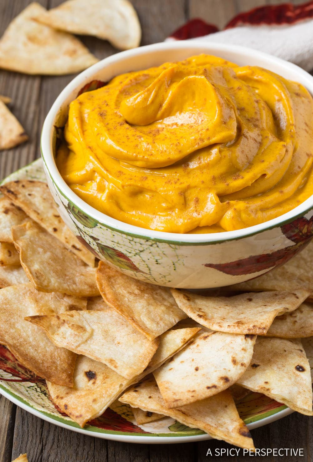 Pumpkin Pie Dip + Cinnamon Chips Recipe #ASpicyPerspective #Halloween #Thanksgiving