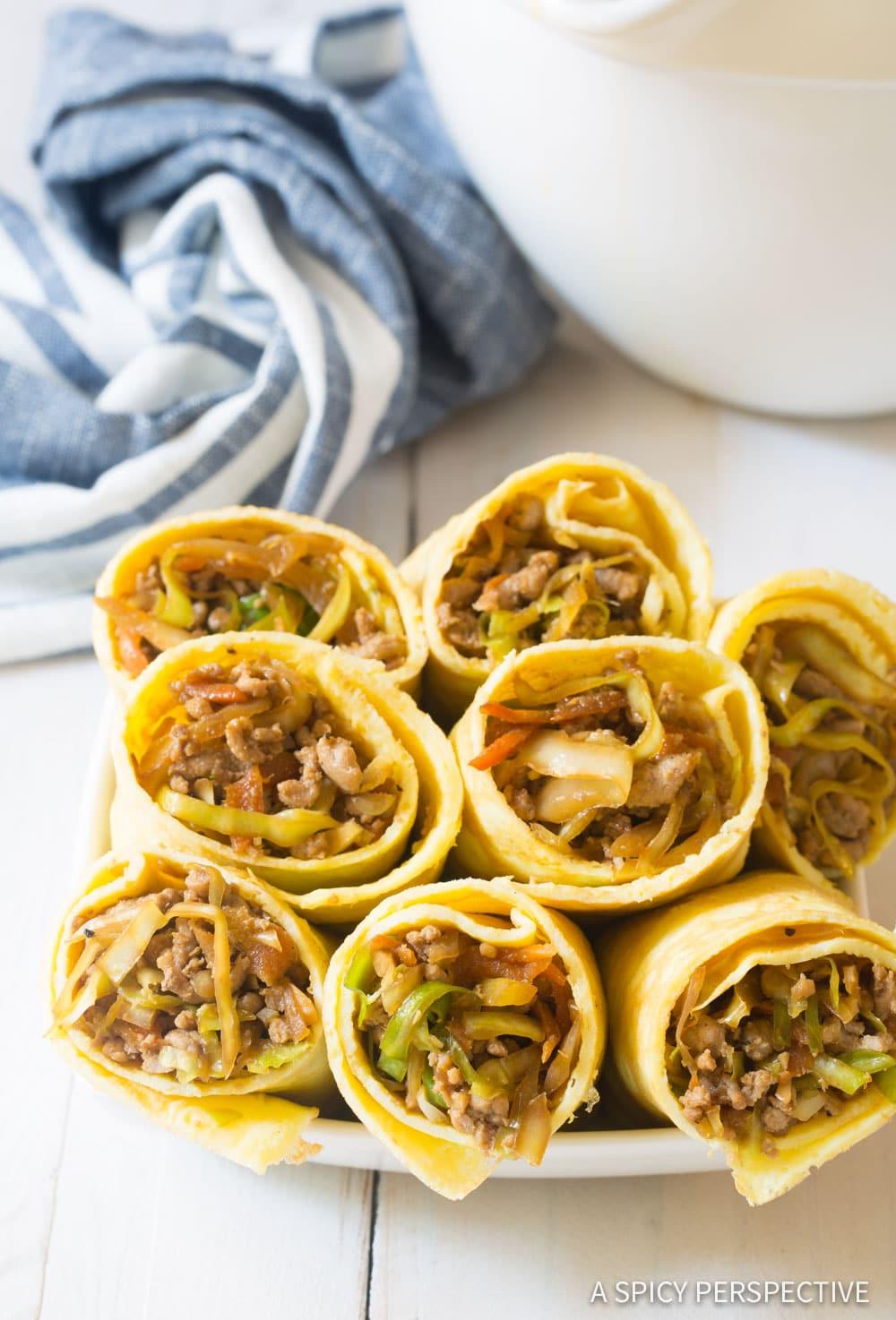 Keto Egg Roll Wrap Recipe #ASpicyPerspective #Ketogenic #Paleo