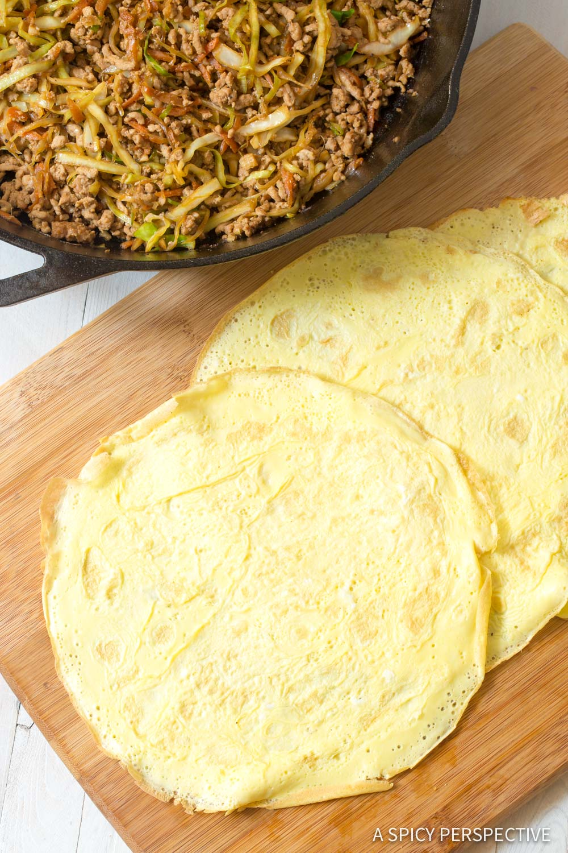 How to Make Keto Egg Roll Wrap Recipe #ASpicyPerspective #Ketogenic #Paleo