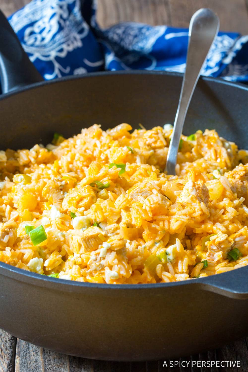 Easy One Pan Buffalo Chicken and Rice Skillet Recipe #ASpicyPerspective
