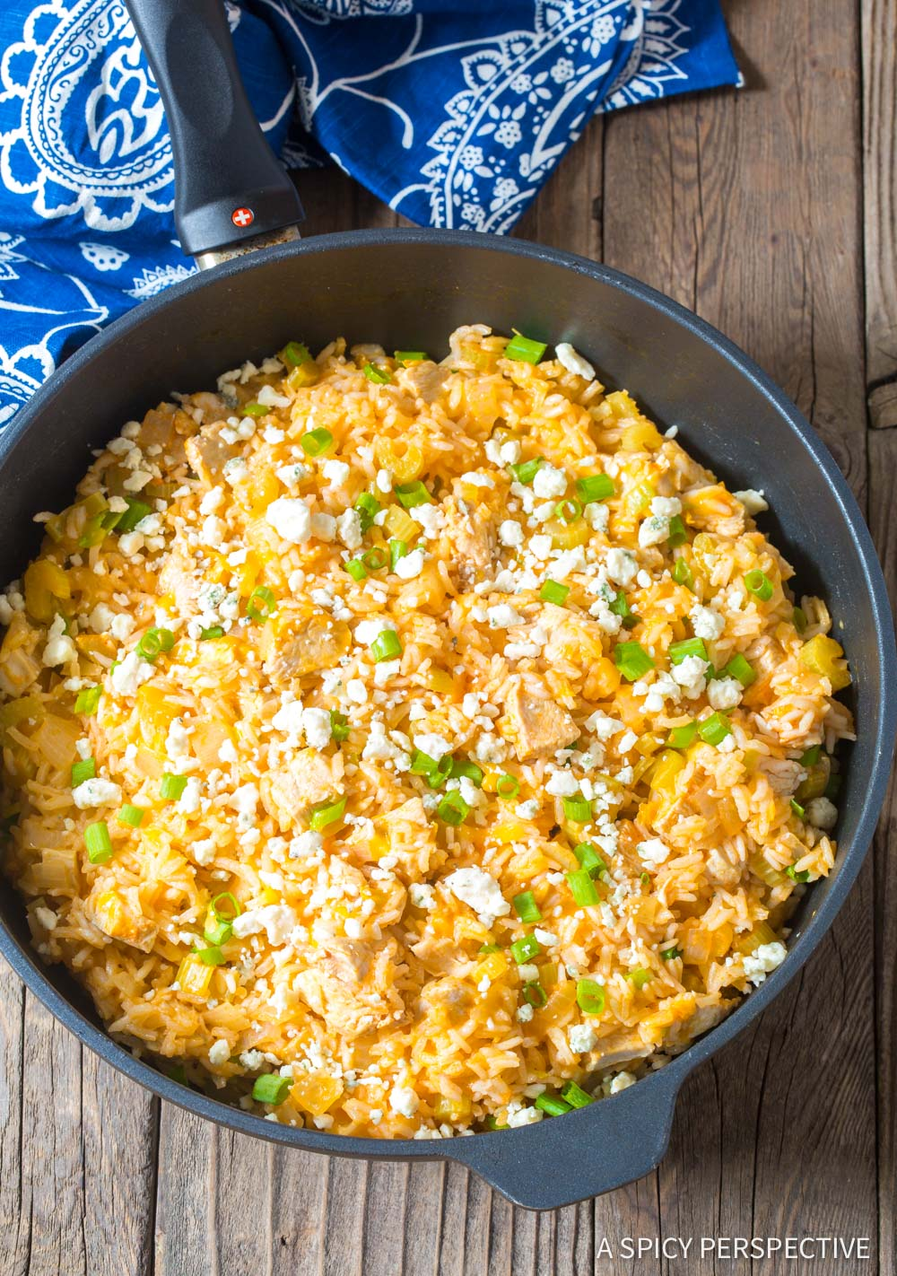 Simple One Pan Buffalo Chicken and Rice Skillet Recipe #ASpicyPerspective