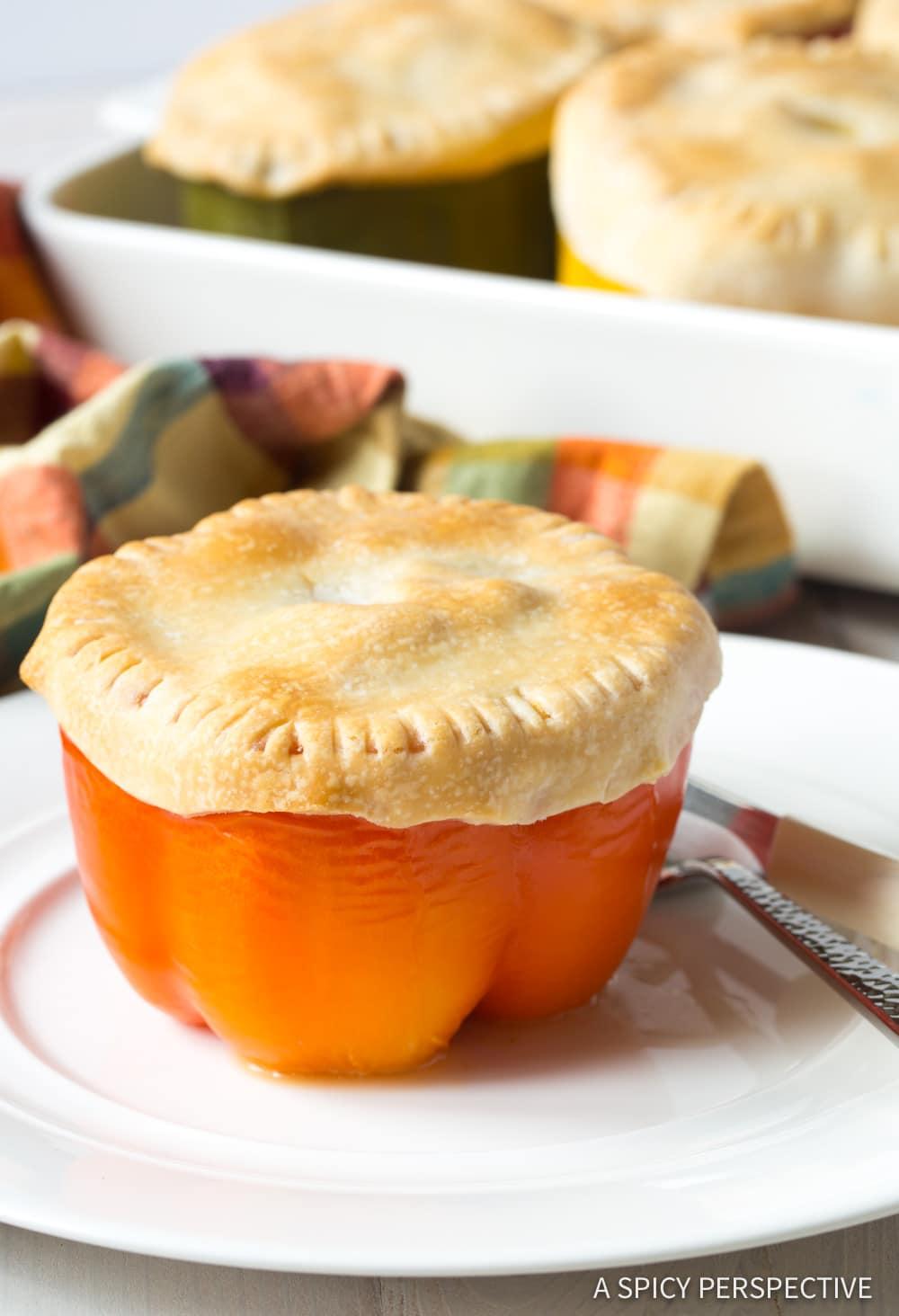 Best Chicken Pot Pie Stuffed Peppers Recipe #ASpicyPerspective