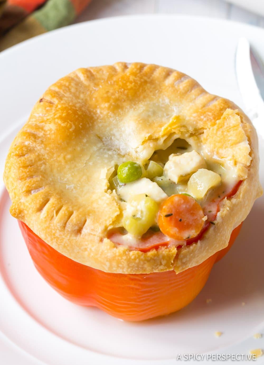 Easy Chicken Pot Pie Stuffed Peppers Recipe #ASpicyPerspective