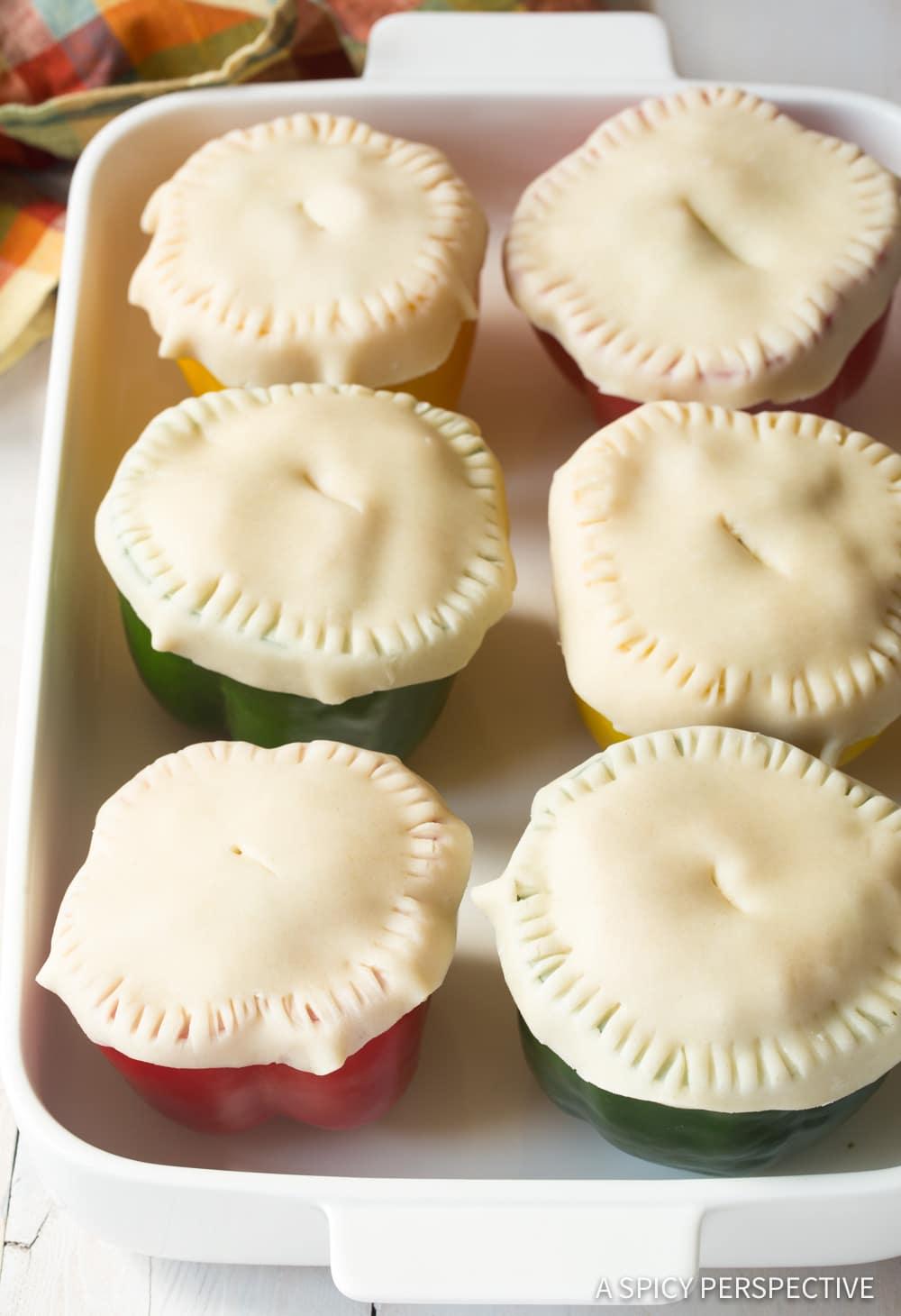 Must-Make Chicken Pot Pie Stuffed Peppers Recipe #ASpicyPerspective