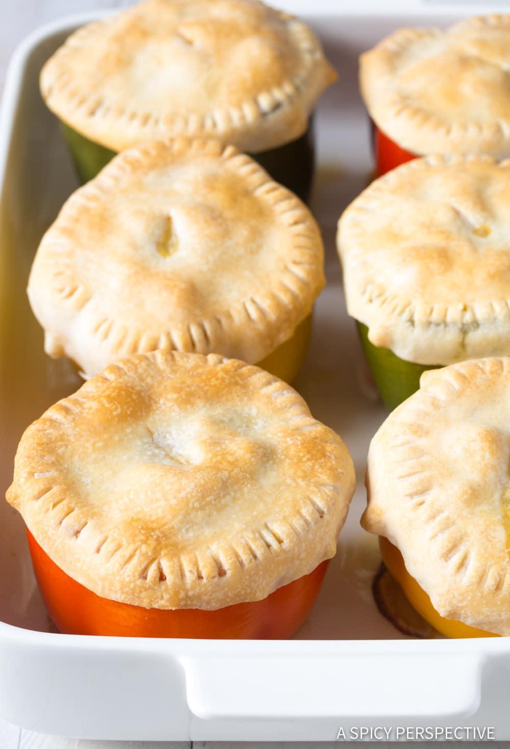 Creamy Chicken Pot Pie Stuffed Peppers Recipe #ASpicyPerspective
