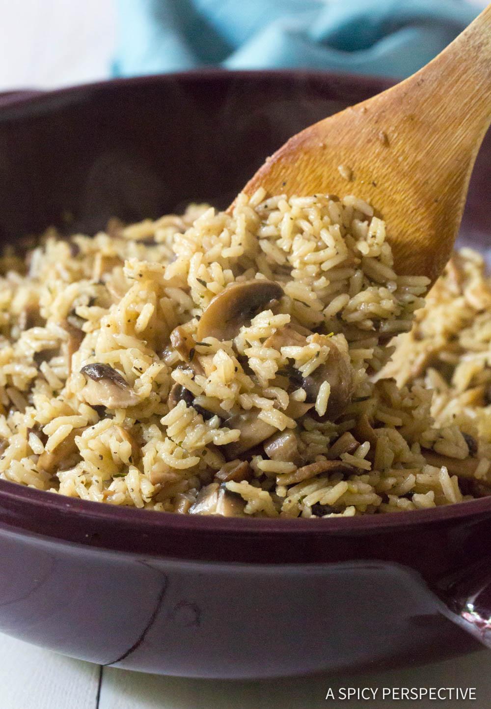 Zesty Mushroom Rice Pilaf Recipe #ASpicyPerspective
