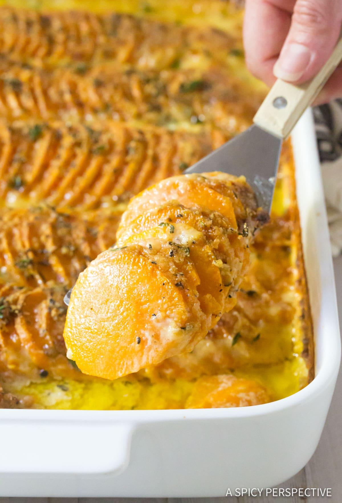 Silky Garlic Butter Scalloped Sweet Potatoes Recipe #ASpicyPerspective #Thanksgiving
