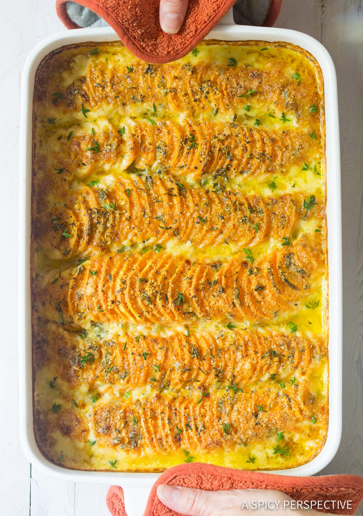 The Best Garlic Butter Scalloped Sweet Potatoes Recipe #ASpicyPerspective #Thanksgiving