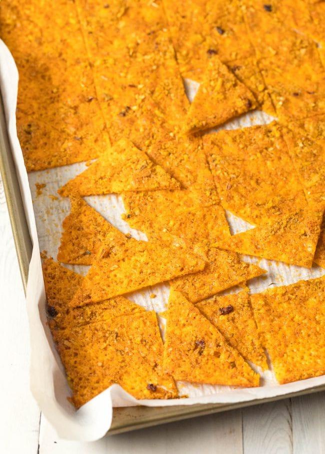 Sheet Pan KETO Tortilla Chip Recipe #ASpicyPerspective #ketogenic #lowcarb
