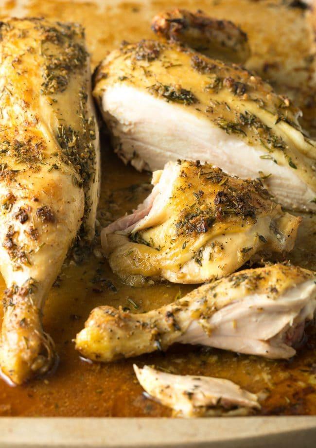 Spatchcock Chicken In 3 Steps (+ Garlic Herb Roast Chicken Recipe) #ASpicyPerspective #spatchcock #chicken