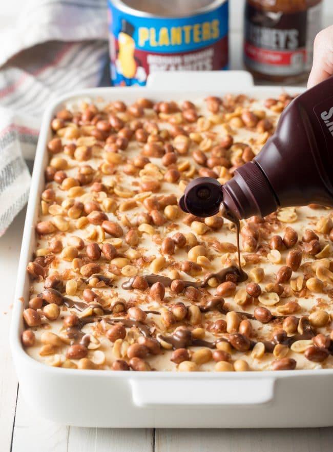 Amazing Buster Bar Ice Cream Cake Recipe #ASpicyPerspective #summer #holiday #july4th #fudge