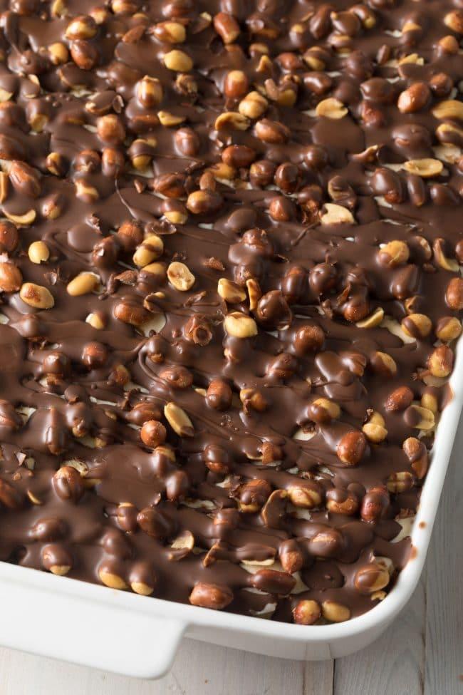 Buster Bar Ice Cream Cake Recipe #ASpicyPerspective #summer #holiday #july4th #fudge
