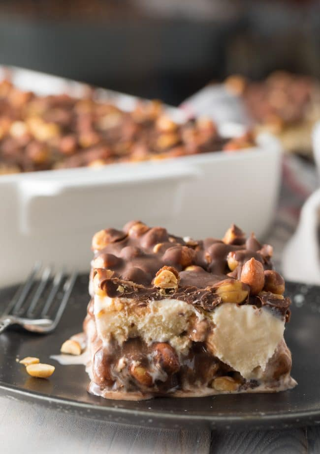 Best Buster Bar Ice Cream Cake Recipe #ASpicyPerspective #summer #holiday #july4th #fudge