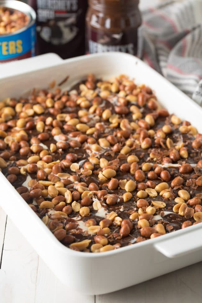 How To Make Buster Bar Ice Cream Cake Recipe #ASpicyPerspective #summer #holiday #july4th #fudge