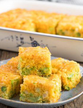 Fluffy Broccoli Cheese Cornbread Recipe #ASpicyPerspective #Easter #southern #cornbread