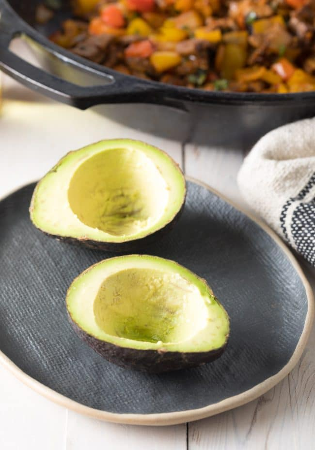 Make: Steak Fajita Stuffed Avocado Recipe #ASpicyPerspective #lowcarb #keto #paleo