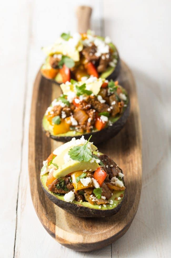 Paleo Steak Fajita Stuffed Avocado Recipe #ASpicyPerspective #lowcarb #keto #paleo