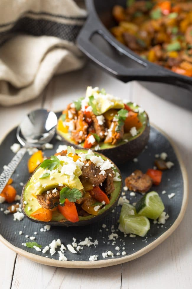 Low Carb Steak Fajita Stuffed Avocado Recipe #ASpicyPerspective #lowcarb #keto #paleo