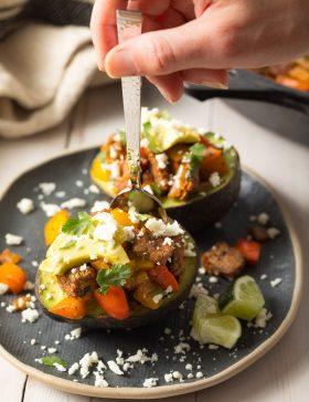 Keto Steak Fajita Stuffed Avocado Recipe #ASpicyPerspective #lowcarb #keto #paleo