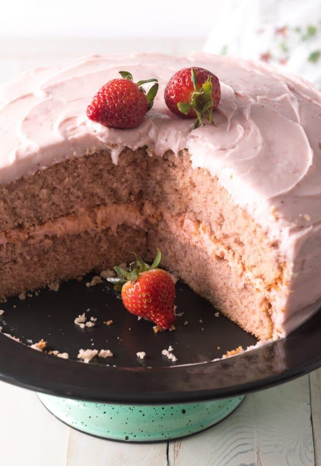 Homemade Strawberry Cake Recipe #ASpicyPerspective #cake #strawberry #strawberries #easter #july4th