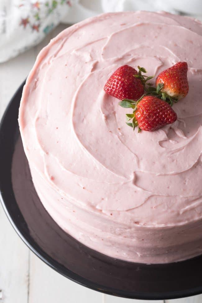 Homemade Strawberry Layer Cake Recipe #ASpicyPerspective #cake #strawberry #strawberries #easter #july4th