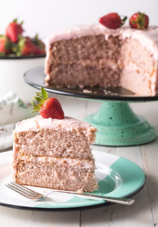 Fresh Strawberry Layer Cake From Scratch Recipe #ASpicyPerspective #cake #strawberry #strawberries #easter #july4th