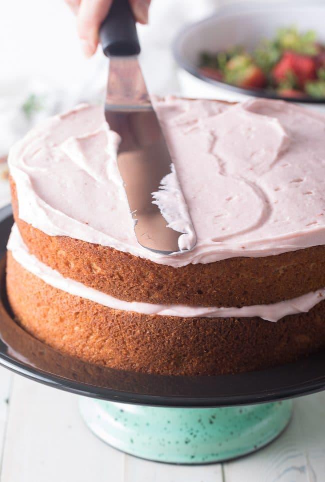 Easy Homemade Strawberry Cake Recipe #ASpicyPerspective #cake #strawberry #strawberries #easter #july4th