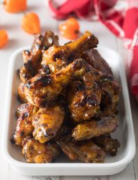 Easy Habanero Peach Grilled Chicken Wings Recipe #ASpicyPerspective #grilled #wings #chicken #grilling #peach
