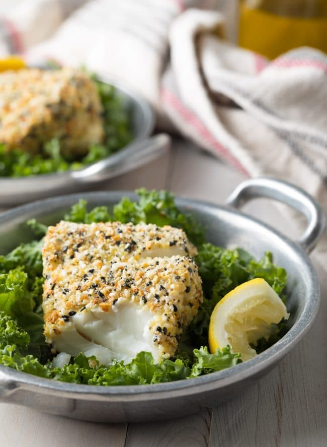 Paleo Baked White Fish with Everything Bagel Crust