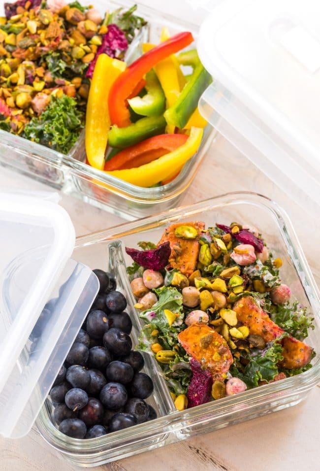 Easy Meal Prep! Roasted Beet Chickpea Kale Salad with Creamy Yogurt Herb Dressing #ASpicyPerspective #kale #chickpea #beets #wholefoods