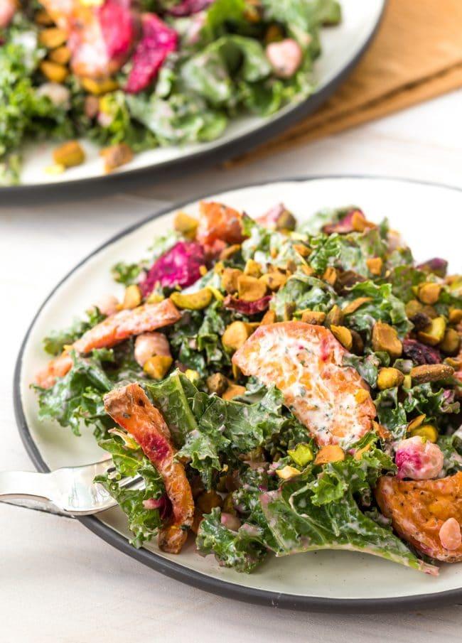 Roasted Beet Chickpea Kale Salad with Creamy Yogurt Herb Dressing #ASpicyPerspective #kale #chickpea #beets #wholefoods