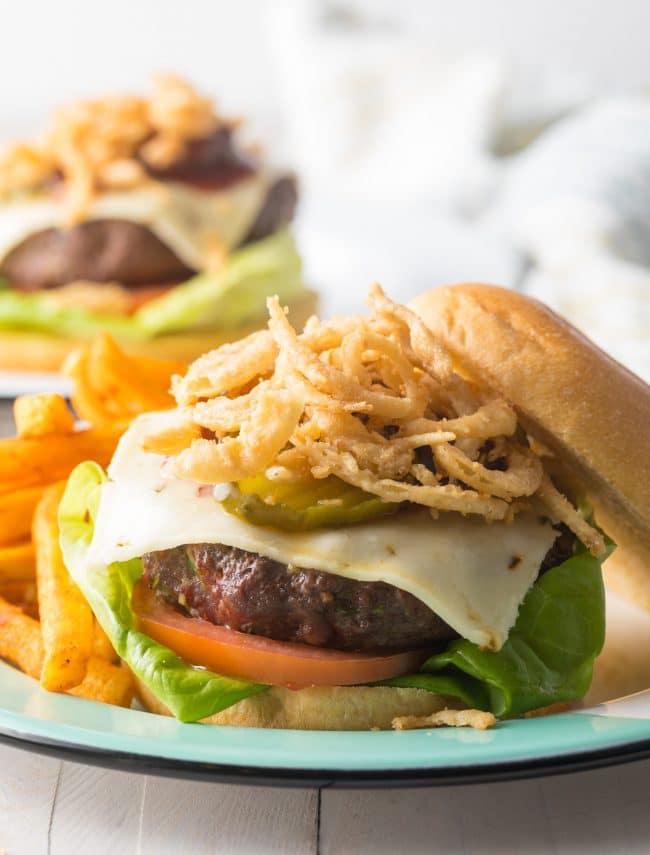 Best Cowboy Bacon Burgers Recipe #ASpicyPerspective #bacon #burgers #hamburgers #cowboy #bbq