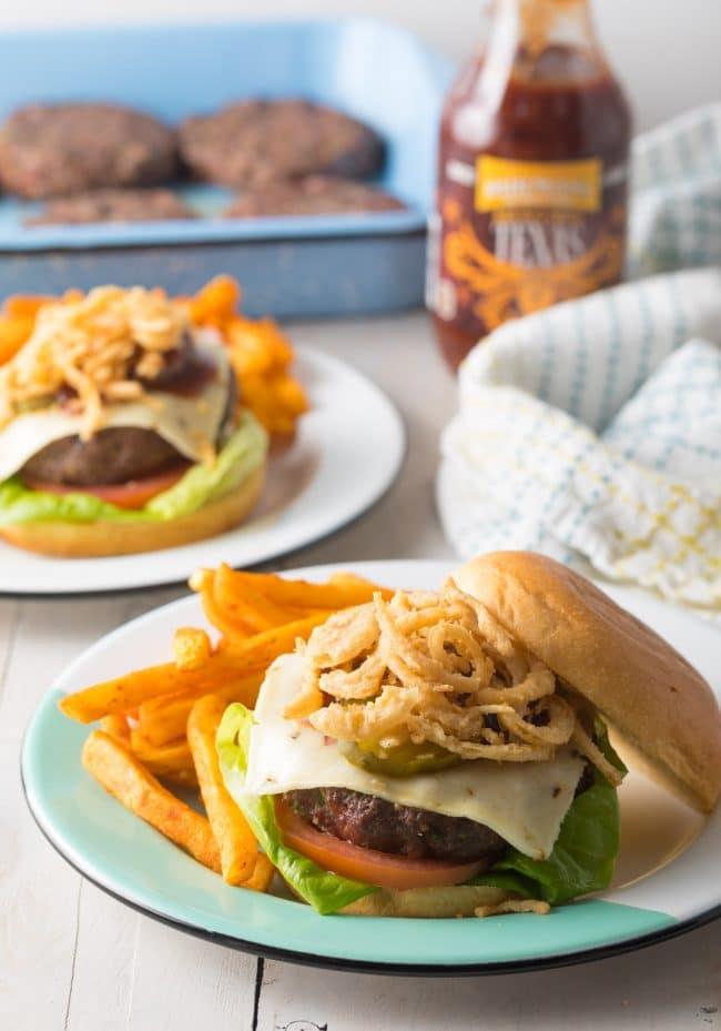Amazing Cowboy Bacon Burgers Recipe #ASpicyPerspective #bacon #burgers #hamburgers #cowboy #bbq