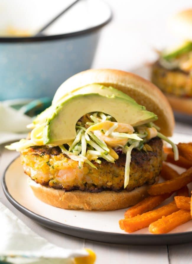 Best Caribbean Shrimp Burger Recipe #ASpicyPerspective #summer #shrimp #hamburger #burger
