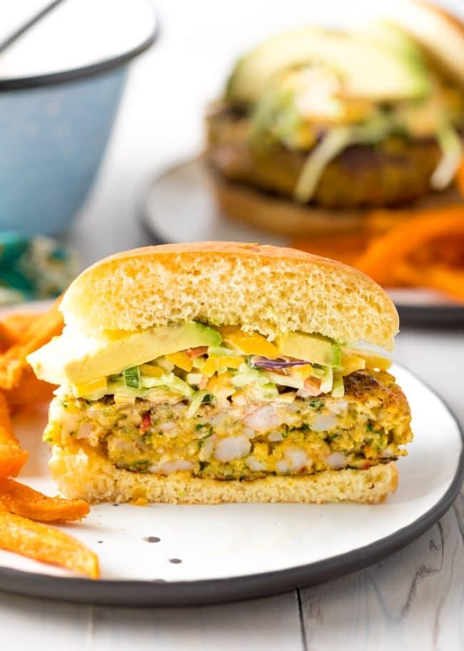 Best Caribbean Shrimp Burgers Recipe #ASpicyPerspective #summer #shrimp #hamburger #burger
