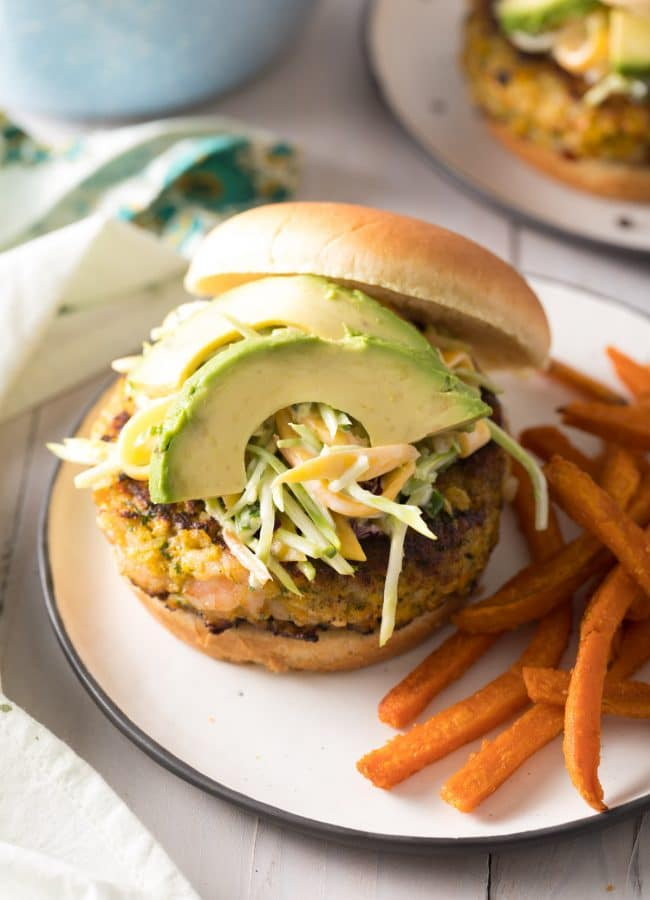 Caribbean Shrimp Burger Recipe #ASpicyPerspective #summer #shrimp #hamburger #burger