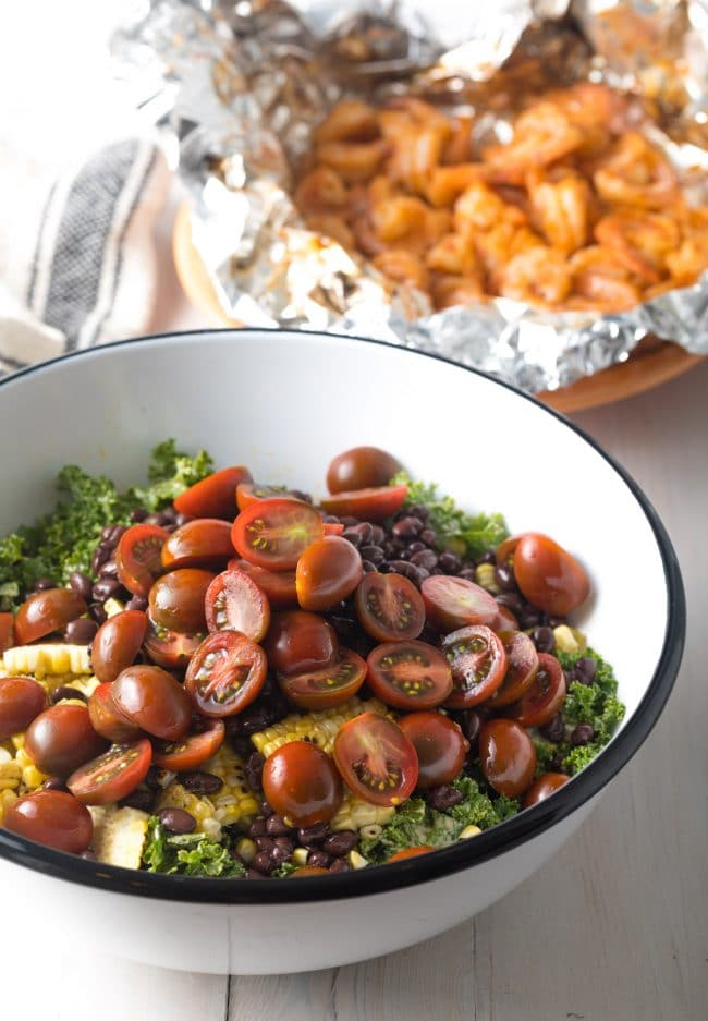 Tex Mex Salad with Chipotle Shrimp Recipe (+ Kale, Grilled Corn, Black Beans and Avocado!) #ASpicyPerspective #kalesalad #mexican #healthy #glutenfree
