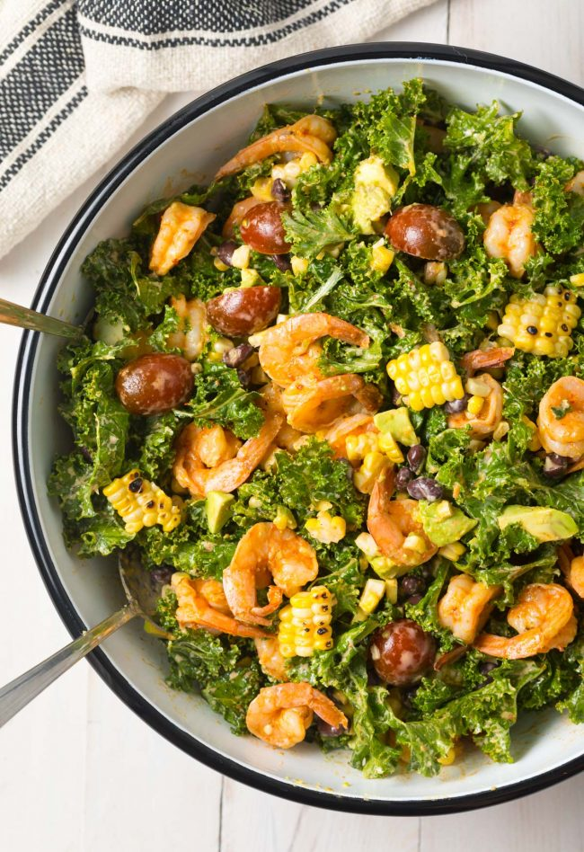 Mexican Salad with Chipotle Shrimp Recipe (+ Kale, Grilled Corn, Black Beans and Avocado!) #ASpicyPerspective #kalesalad #mexican #healthy