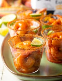 Mexican Shrimp Cocktail Recipe #ASpicyPerspective #glutenfree #shrimp #cocktailsauce #party #appetizer #michelada