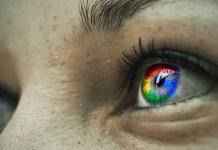Google logo reflected in the iris of a women   Aspioneer