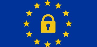 GDPR Logo, Lock and Stars